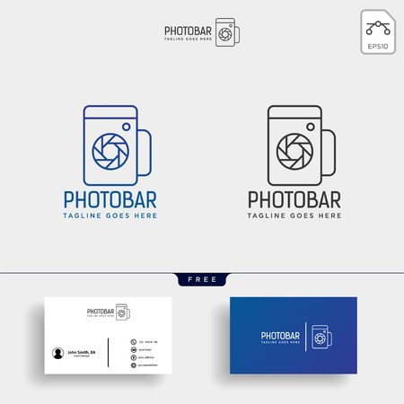 photo bar, camera and bar or wine creative logo template with business card - vector Vectores