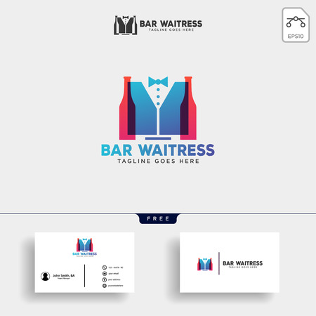 waitress bar, or waiter creative logo template vector illustration with business card - vector Stok Fotoğraf - 116116538