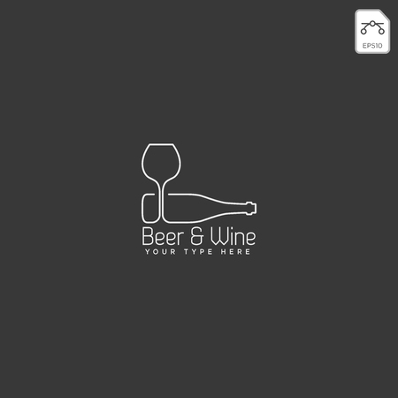 beer glass and bottle creative logo template, icon element - vector