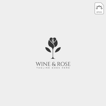 wine and rose logo template vector isolated, icon elements - vector