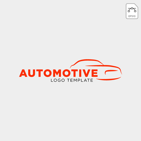 Car automotive logo in simple line graphic design template vector - Vector