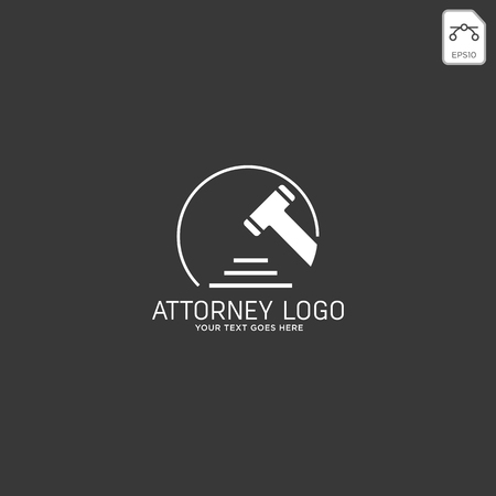 elegant attorney logo line design template illustration - vector