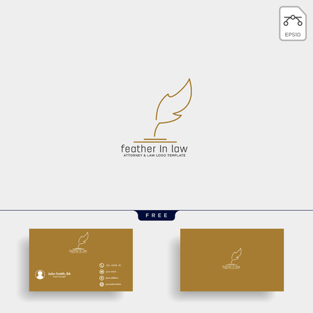 elegant feather attorney logo line design template illustration - vector Illustration