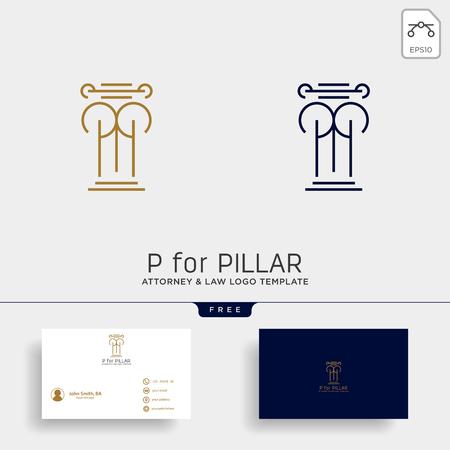 elegant attorney logo line design template illustration - vector