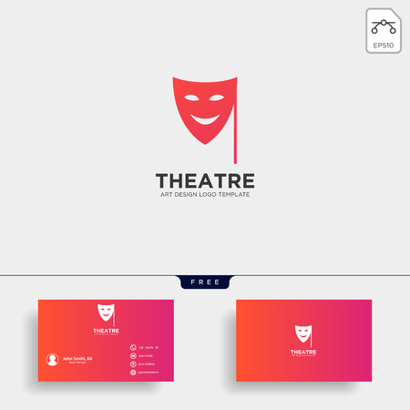 theater mask actor logo template vector icon element with business card