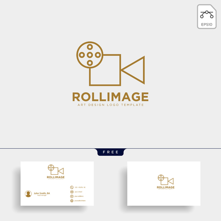 video recorder fil studio logo template vector icon element with business card