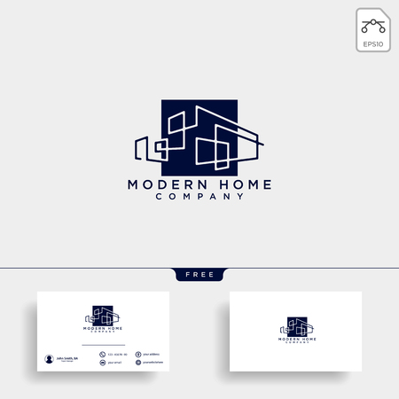 Vector flat construction company brand design template. Building, business company and architect bureau insignia, logo illustration isolated on white background. Line art. - Vector