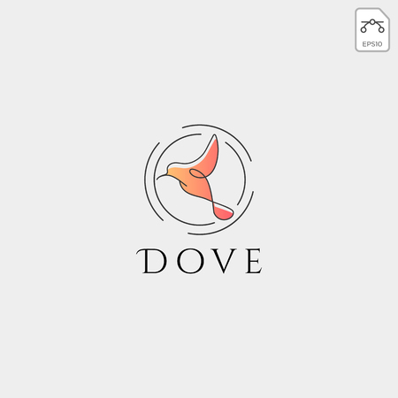 Dove Flying Bird Cosmetic Logo template vector icon Banque d'images - 117445938