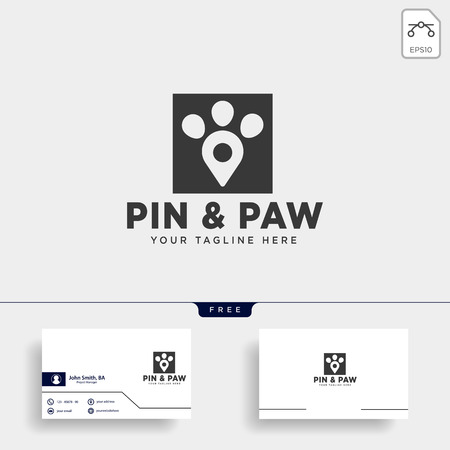 pin or location pet animal logo template vector icon