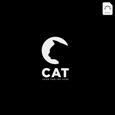 letter C cat pet animal type logo template vector icon element isolated