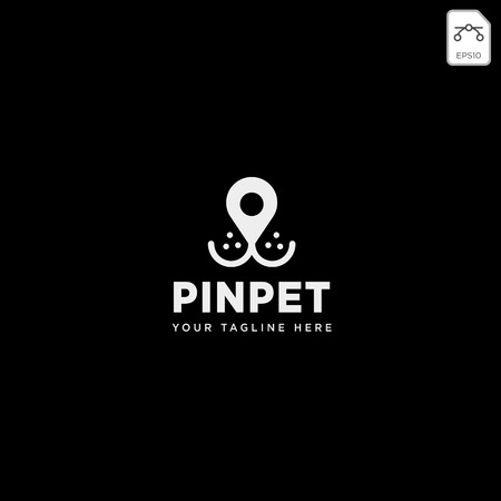 pin or location pet animal logo template vector icon element isolated