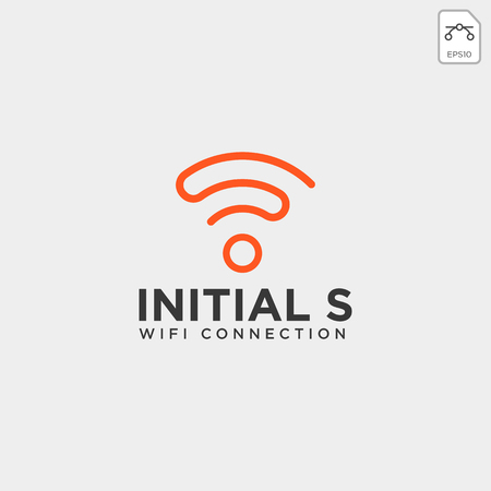 initial S wifi connection communication creative logo template vector illustration icon element isolated - vector