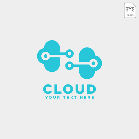 cloud connection communication creative logo template vector illustration icon element isolated - vector Çizim