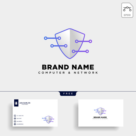 guard shield protection digital logo template vector illustration icon element isolated - vector Logo