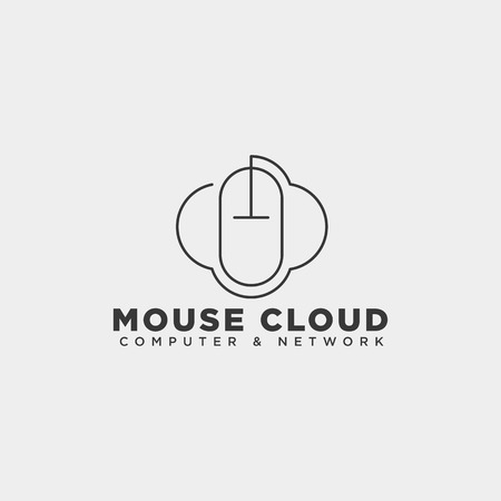 cloud mouse logo template vector illustration icon element isolated - vector