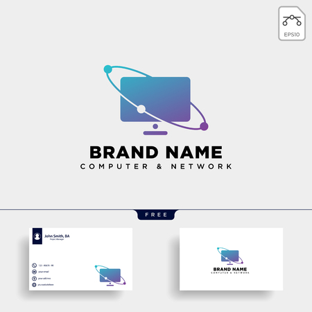 monitor digital technology logo template vector illustration icon element isolated - vector
