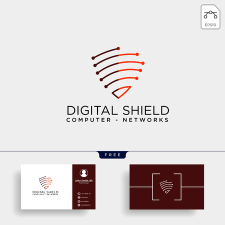 shield protection network logo template vector illustration icon element isolated - vector
