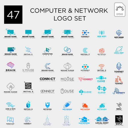 digital computer network technology set logo template vector illustration icon element isolated - vector