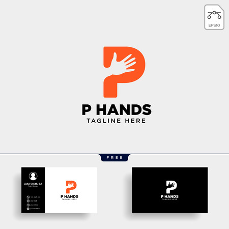 minimal p letter, initial hand logo template vector illustration icon element isolated - vector