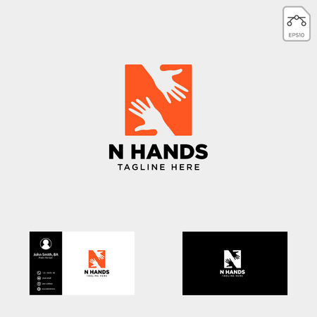 minimal N letter, initial hand logo template vector illustration icon element isolated - vector