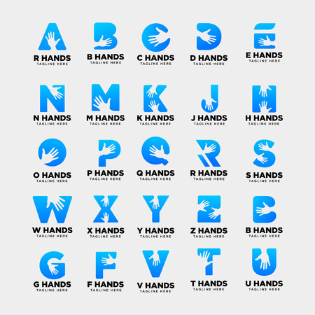 a-z, initial hand logo template vector illustration icon element isolated - vector Logo