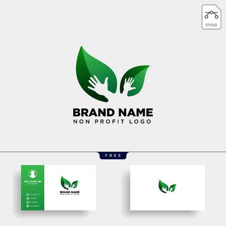 eco leaf hand care logo template vector illustration icon element isolated - vector