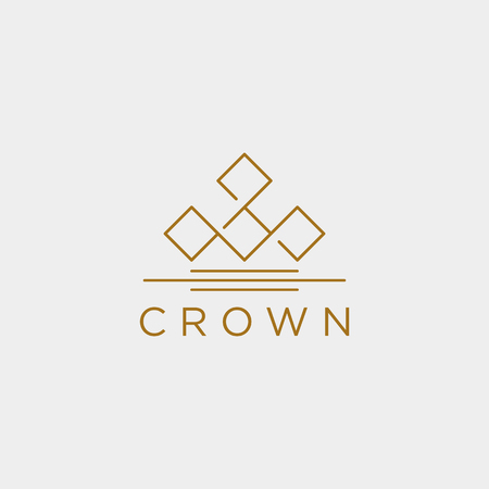 crown elegant line logo template vector illustration icon element isolated - vector 向量圖像