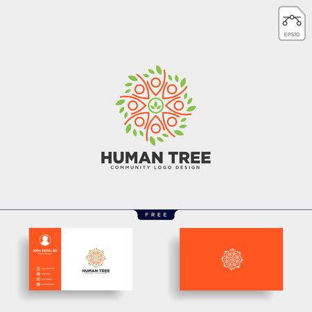 human tree leaf community logo template vector illustration icon element isolated - vector Logo