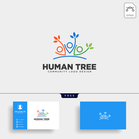 human tree leaf community logo template vector illustration icon element isolated - vector