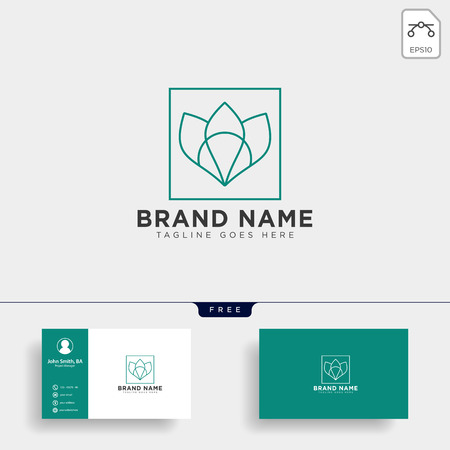 beauty cosmetic line art logo template vector illustration icon element isolated with business card- vector