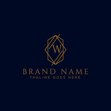 Luxury vector logotype. Premium letter w logo with golden design. Elegant corporate identity vector illustration