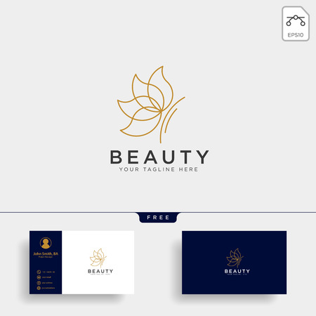 butterfly beauty cosmetic line art logo template vector illustration icon element isolated with business card- vector