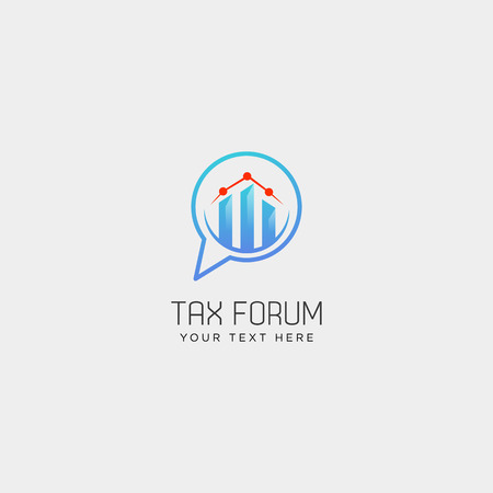 message, chat, forum accounting financial logo template, icon elements vector illustration with business card Vectores