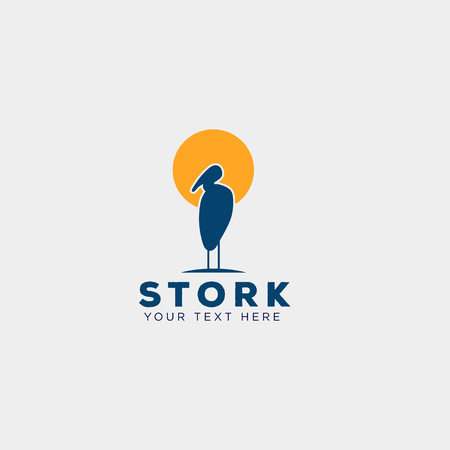 stork business logo template creative vector illustration with business card, icon elements isolated