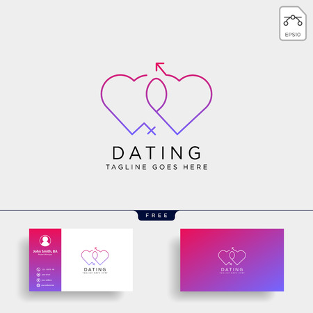 dating love line logo template vector illustration icon element isolated with business card - vector Foto de archivo - 118501243