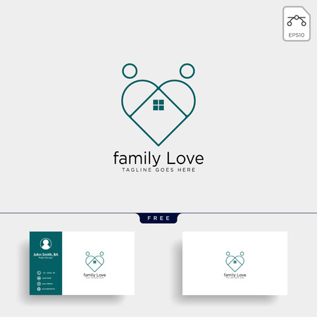 dating love line logo template vector illustration icon element isolated with business card - vector Illustration