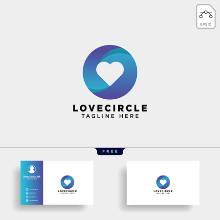 dating love circle gradient logo template vector illustration icon element isolated with business card - vector Foto de archivo - 118501250