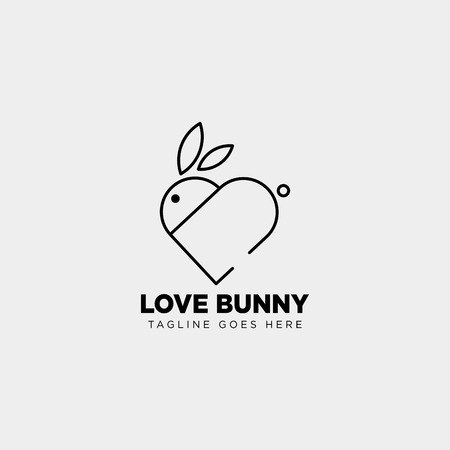 rabbit or bunny love animal line art style logo template vector icon element isolated - vector Vettoriali