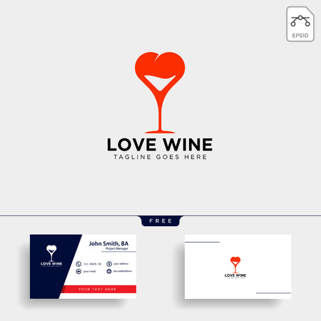 love wine glass logo template vector illustration icon element isolated