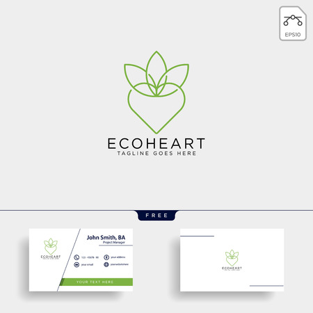 Love eco leaf Nature logo template vector illustration icon element isolated
