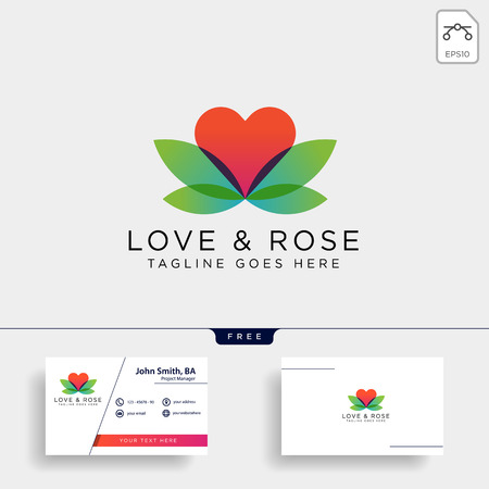 Love Rose Nature logo template vector illustration icon element isolated Foto de archivo - 118640529