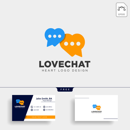 love chat simple creative logo template vector illustration icon element isolated Çizim