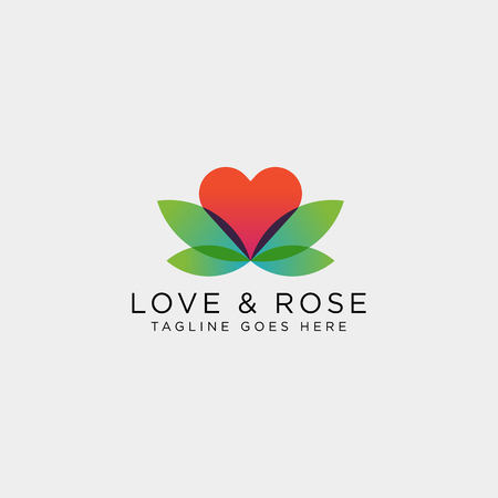 Love Rose Nature logo template vector illustration icon element isolated Foto de archivo - 118640595
