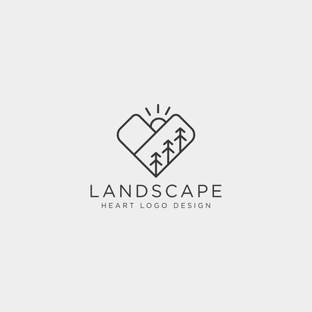 mountain love line logo template vector illustration icon element isolated - vector