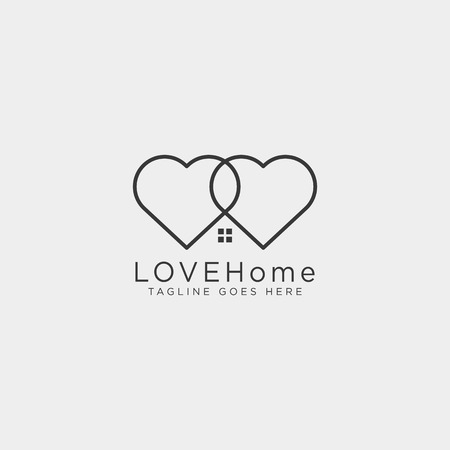 love home line logo template vector illustration icon element isolated - vector