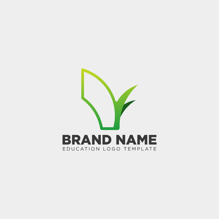 learning book plant leaf tree line logo template vector illustration icon element isolated with business card - vector