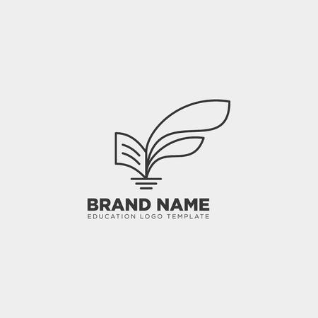 Livre d'apprentissage plante feuille arbre ligne modèle logo icône illustration vectorielle élément isolé avec carte de visite - vector Logo