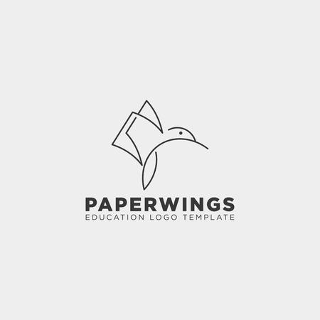 papier en ligne ou livre oiseau modèle logo vector illustration avec carte de visite - vector Logo