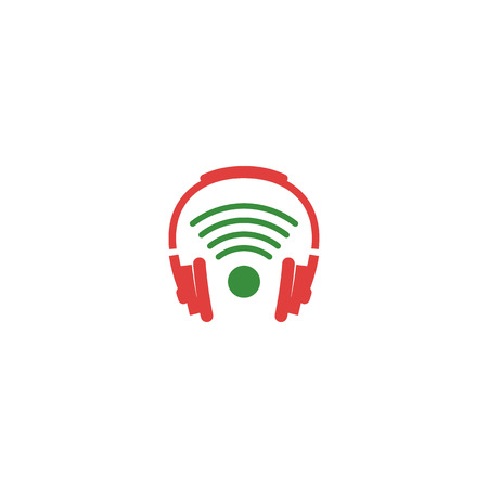 wireless headphone creative logo icon element isolated - vector