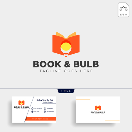Light bulb learning line logo template vector illustration icon element isolated with business card - vector